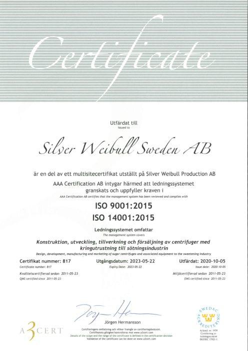 Certifikat ISO 9000 14001 SWS 2020